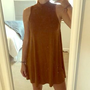 Brown high neck dress